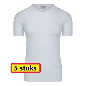 Heren T-shirt met V-hals M3000 Wit (5-pack)